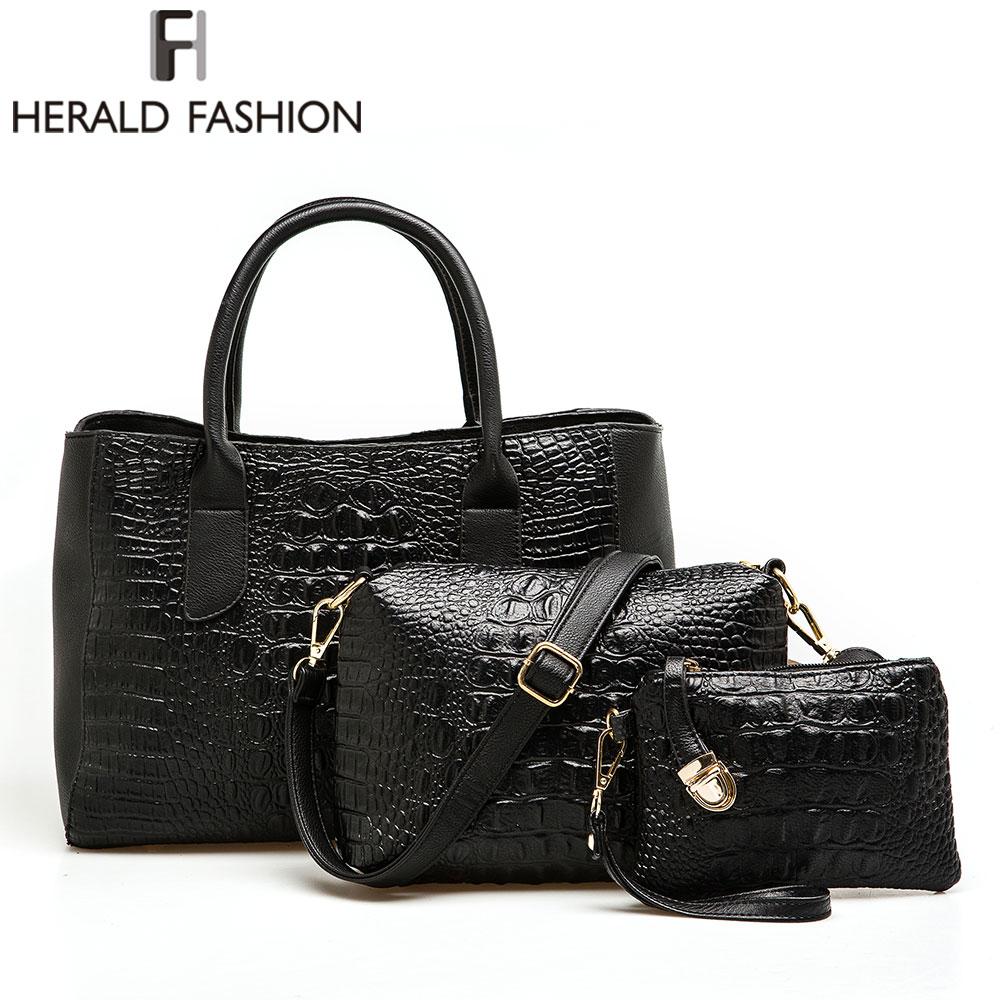 ФОТО Herald Fashion Luxury Women Composite Bag Alligator PU Leather Women Totes Bag 4 Pieces one Set Handbag + Shoulder Bag + Purse