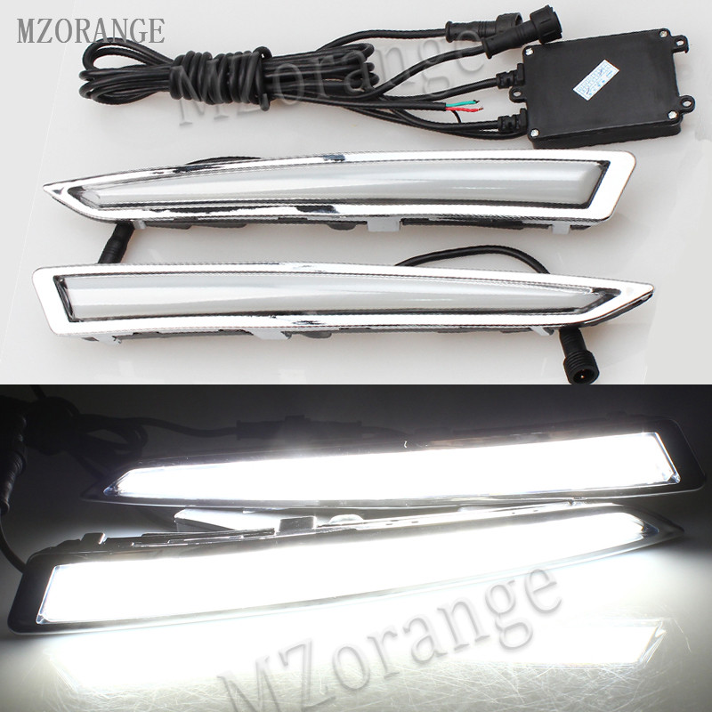 MZORANGE Car led Daytime Running Light Waterproof drl daylight Turn signal for Ford Kuga Escape 2014 2015 2016 2017 fog lamp