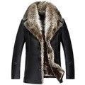Осень и зима мужские зимние ПУ кожаные куртки отложным мягкий Воротник куртки мужские плюс размер 4XL и долго PU кожаная куртка 530