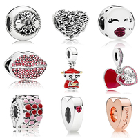New High quality Love Pendant Charm Beads Fit Brand Bracelet Charms Silver 925 Original Bead Jewelry Girl Valentines Gift W/Logo
