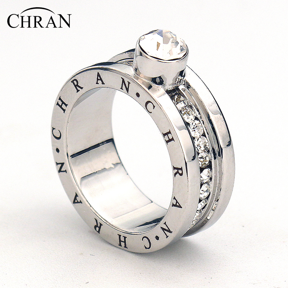 chran classical silver color finger engagement rings for