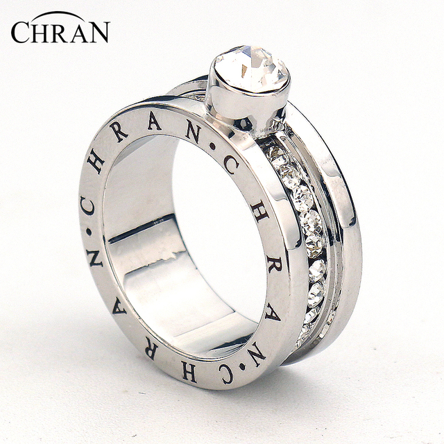 CHRAN Classical Silver Color Finger Engagement Rings For Women Lovely Brand Jewe