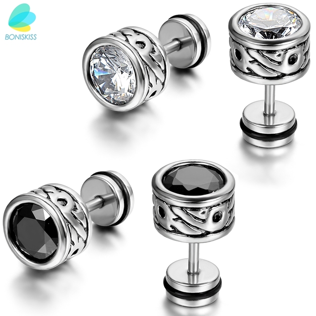 Boniskiss High Quality Cool Mens Earring Ear Stud Stainless Steel Cz Crystal Fake Plug 2 Color