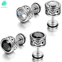 High Quality Cool Mens Earring Ear Stud Stainless Steel CZ Crystal Fake Plug 2 Color Black