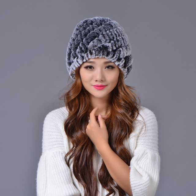 a08af66ac02bd Lady Winter Fur Hat Natural Real Rex Rabbit Fur Cap Thick Warm Soft Knitted  Skullies Snow