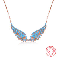 Fashion jewel, s925 sterling silver necklace, lovely and sweet angel wings pendant collarbone chain gift wholesale