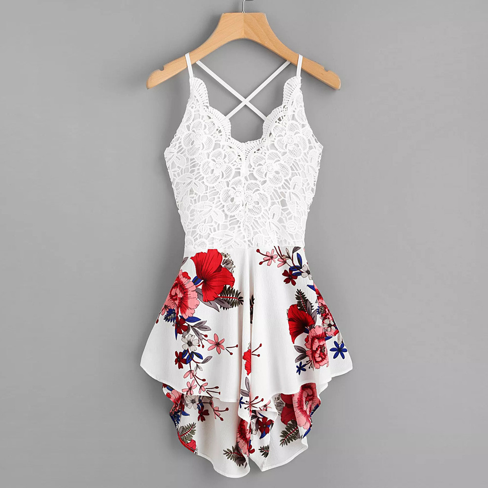 Women's Crochet Lace Soft And Comfortable Panel Bow Tie Back Florals Ladies Summer Shorts Jumpsuit L50/0116