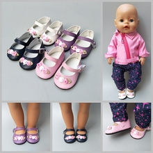 Mini Doll Shoes Pu Leather Floral Decoration for 18 Inch United States As fits 43cm Baby  Accessories