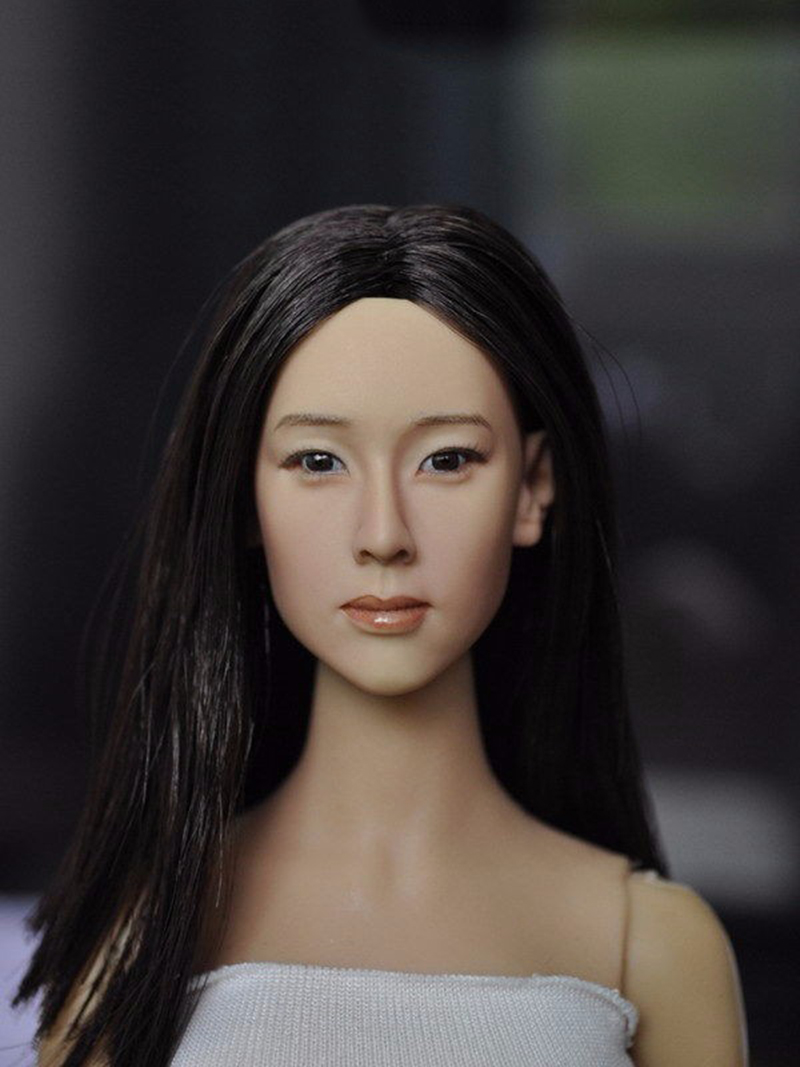 1/6 Scale Asian Women Female Head Sculpt with Black Long Hair For 12Action Figures Body Model Toys Collections