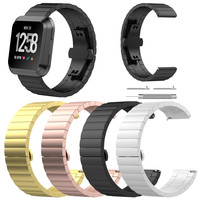 Stainless Steel Link Bracelet Watch Band For Fitbit Versa Premium Luxury Metal Watch Band Strap Quick