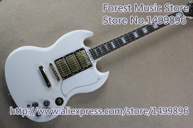 Hot Selling Gold Hardware SG Electric Guitars In White Color Left Handed Custom Available стоимость