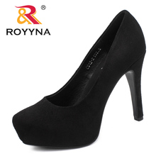цена на ROYYNA New Fashion Style Women Pumps Platform Femme Dress Shoes High Thin Heels Mujer Wedding Shoes Round Toe Lady Party Shoes