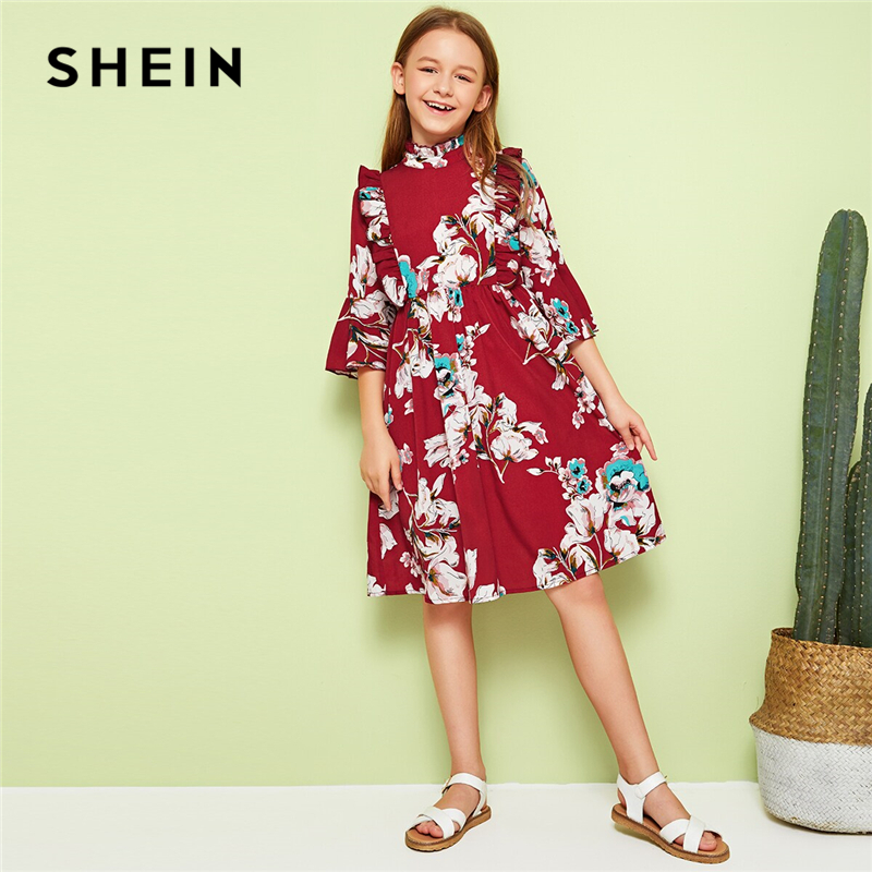 SHEIN Kiddie Burgundy Stand Collar Floral Print Ruffle Girls Cute Dress Kids 2019 Summer Flounce Sleeve Knee Length Dresses(China)