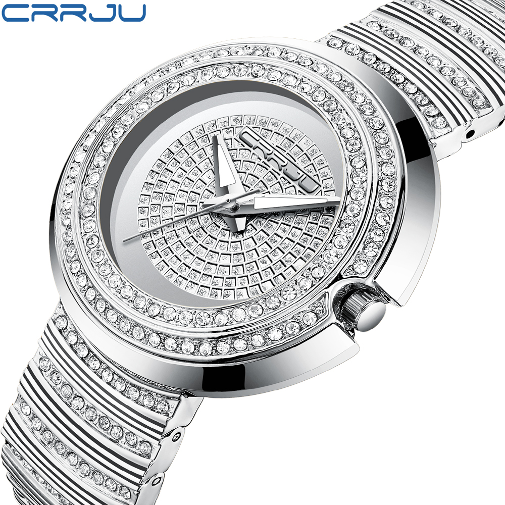 Women's Fashion Casual Analog Quartz Watches CRRJU Women Diamond Rhinestone crystal bracelet WristWatch Feminino Gift clock ladies women watches 2017 fashion women rhinestone bracelet watches analog quartz wristwatch ladies clock relogio feminino