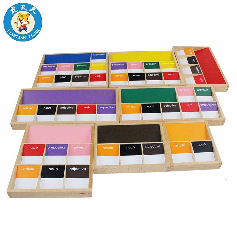 Baby Montessori Language Wooden Toys Early Education Teaching Aids Basic Language Grammar Boxes Sympols