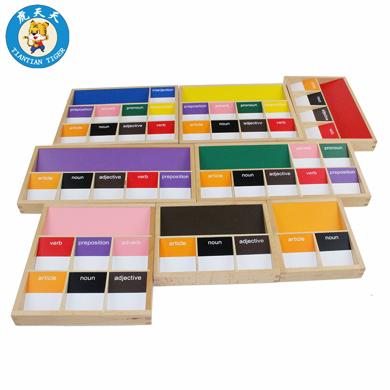 Baby Montessori Language Wooden Toys Early Education Teaching Aids Basic Language Grammar Boxes Sympols цена