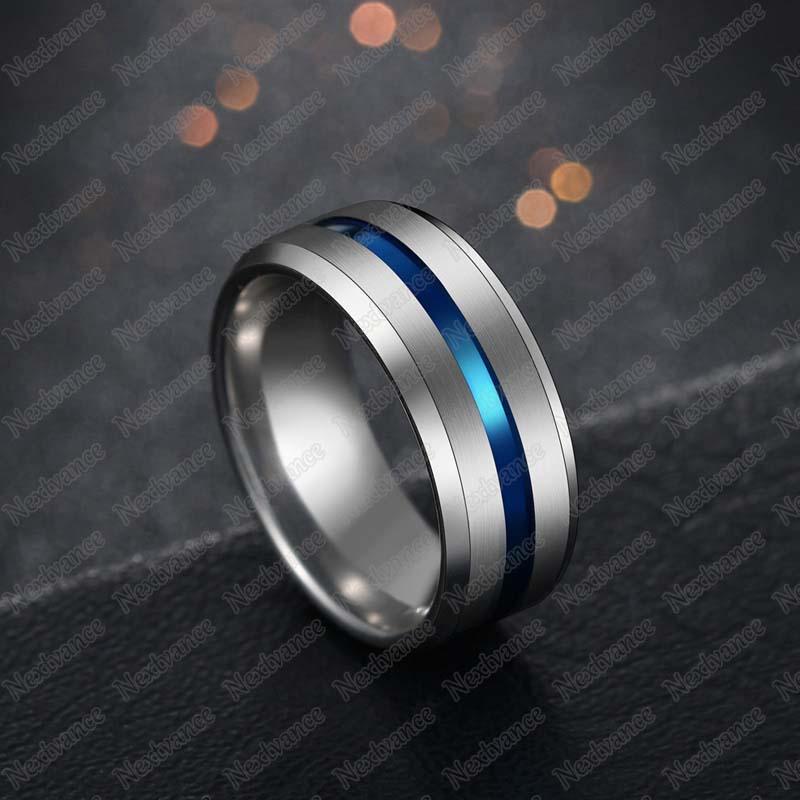 Nextvance, Трендовое кольцо 8 мм из нержавеющей стали, черное, синее, желобчатое кольцо для мужчин, обручальные кольца с радугой, мужские ювелирные изделия, Прямая поставка - Цвет основного камня: silver