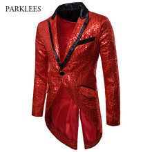 Mens Shiny Red Sequin Gothic Tailcoat Jacket One Button Slim Fit Long Tuxedo Blazer Men Party Stage Singer Halloween Costume 2XL(China)