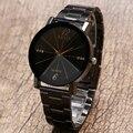 Простой Стиль Творческой Diamond Dial Дизайн Женщины Дамы Часы с Черный Нержавеющей Стали Ремешок Ремешок Лучшие Знакомства Часы Часы