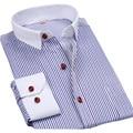 2016 moda nuevos Mens camisetas de rayas con manga larga para hombre importado ropa urbana de cuello blanco diseñadores hombre camisa