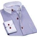 2016 novos homens de moda listrada camisas com manga comprida masculina importado urbana roupas de colarinho branco Designers homem camisa