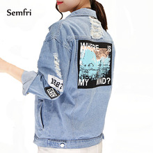 Semfri Women Jean Jacket Embroidery Letter Patch Bomber Jacket Blue Ripped Distressed Denim Coat Turn-down Collar Loose Casual hooded wing embroidery distressed denim jacket