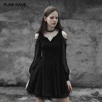 PUNK RAVE Women Fashion Strapless Lovely Chiffon Dresses Sexy V collar Women Dress Victorian Style Summer Short Sleeve Dresses