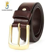 73a86c83f30 FAJARINA de Clase de la Moda de Diseño de Latón Macizo Hebilla de Cinturón  Para Hombre Retro de Cuero Piel de Vaca Pura Correas .