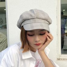 Winter Beret hat For Women Newsboy Plaid Cotton Autumn Femal Cap Female Striped Octagonal cap 2019