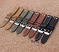 22mm  20mm watchband Smooth Cowhide Leather watch band strap bracelet nail for men watches Black silver steel buckle Promotion
