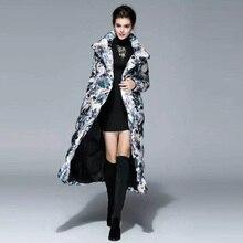 X-долго вниз 2016 новинка осень — зима марка широкий талией с длинным рукавом крытая кнопка цветочный принт теплый люкс толстая вниз