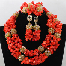 Trendy Nigerian Wedding Coral Beads Jewelry Set Plated Gold Dubai Bridal Costume Jewelry Set 7 Colors Free Shipping QW430