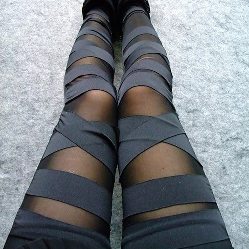 Neue Frühling Sommer Legging Sexy Sehen Durch Streifen Kreuz Krawatte Bis Neun Punkt Bodycon Frauen Leggings Schwarz Schlank Bandagen Leggings