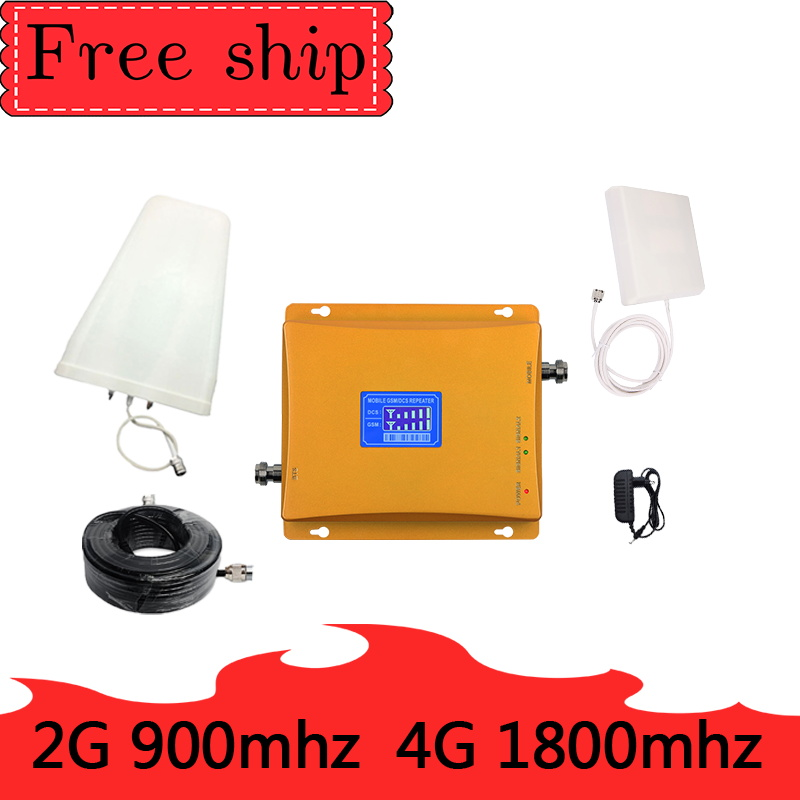GSM 900 DCS LTE 1800  4G Mobile Phone Signal Booster 70dB Gain 2G 4G Cellphone Cellular Amplifie Dual Band RepeaterGSM 900 DCS LTE 1800  4G Mobile Phone Signal Booster 70dB Gain 2G 4G Cellphone Cellular Amplifie Dual Band Repeater