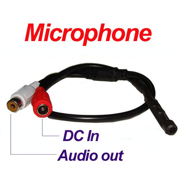 Mini Mic Audio Sound CCTV Microphone Cable RCA Output wire for DVRs Camera free shipping original io data lcd ad191x2 power board eadp 50cf good condition new test package original 100