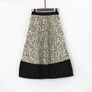 MNOGCC Pleated-Skirts A-Line Club Bohemian-Printed High-Waist Women's Summer Long Animal-Pattern