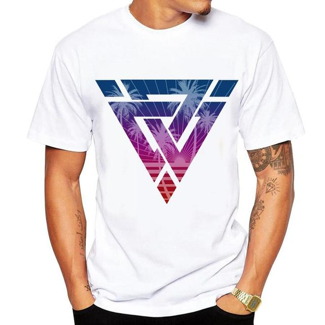Men's t-shirt new casual short-sleeved Summer Retro Style Synthwave Graphic Logo Design printing t shirt men cotton comfortable  1