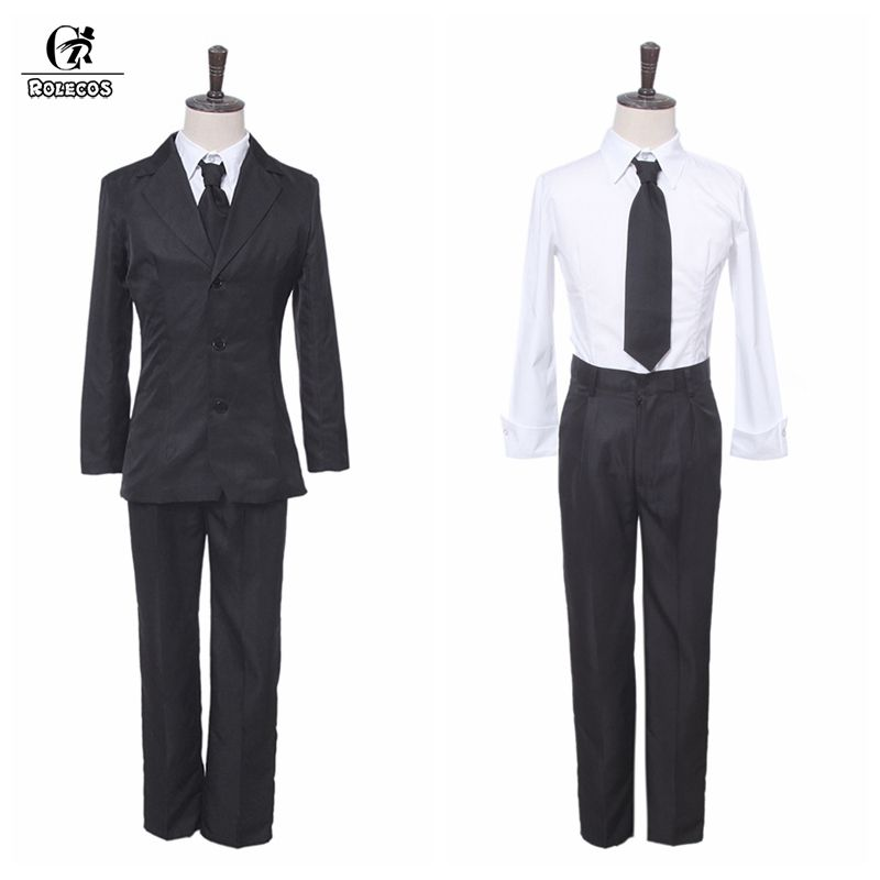 ROLEOCS Anime Bungou Stray Dogs Cosplay Costume Dazai Osamu Cosplay Costume Men Black Trench Pant Tie 4PCS Sets Outfit Halloween
