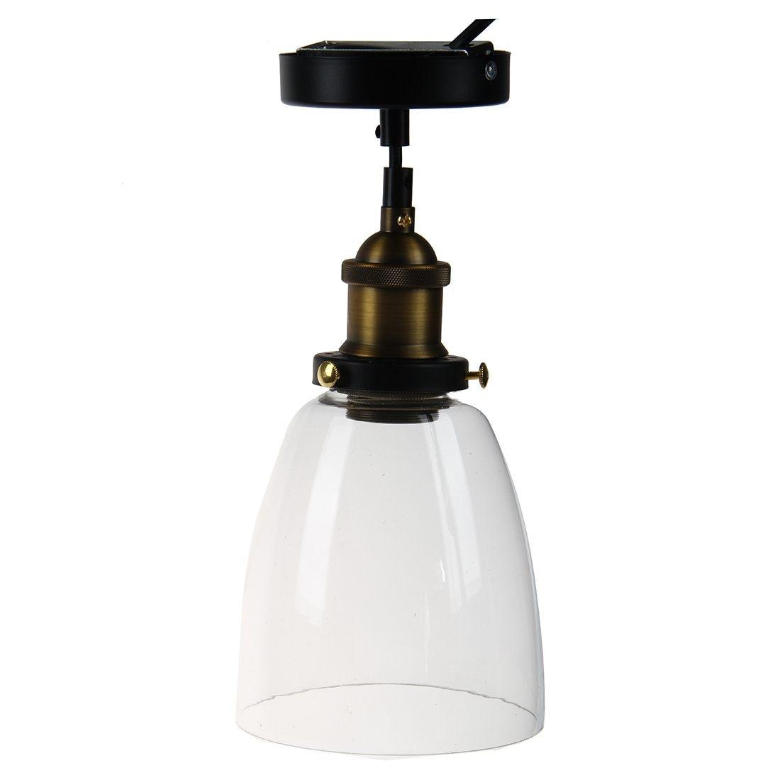 Modern Vintage Industrial Edison Glass Shade Loft Coffee Bar Kitchen Hanging Pendant Lamp Light (Antique head diameter 14.5cm)