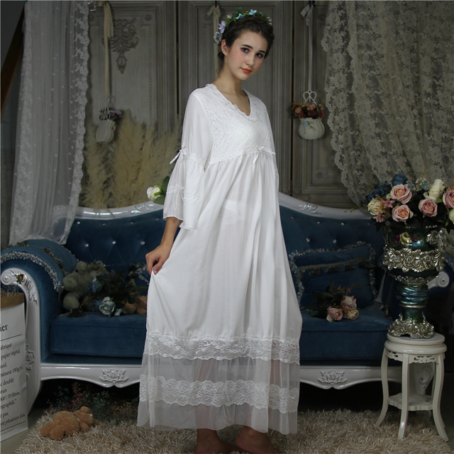 New Luxury Brand Womens Vintage Victorian Nightgown Sheer Sleepwear Mesh Cozy Comfort Breath Elegant Lounge Long Dress