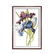 Joy Sunday Flowers and Bird Cross Stitch Kits Iris 11 14CT Printed Canvas Painting Floral Pattern DMC