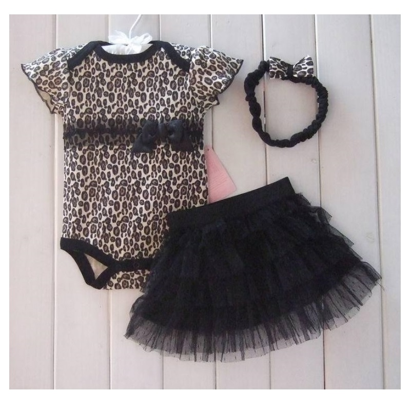 Hooyi Leopard Baby girl clothes Sets Bodysuit Lace Dress headband infant clothing baby girl jumpsuit tutu hairband 3-piece set new born baby girl clothes leopard 3pcs suit rompers tutu skirt dress headband hat fashion kids infant clothing sets
