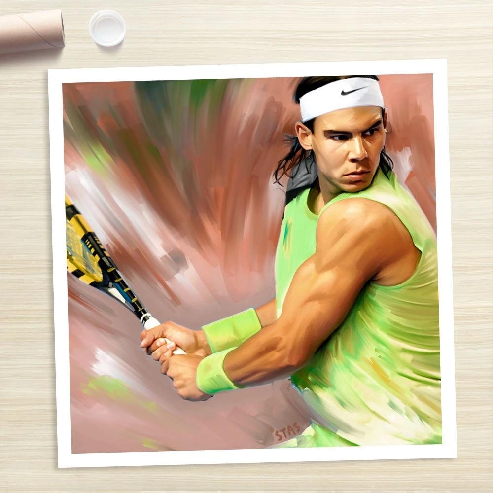 100 handmade oil painting hand rafael nadal tennis photo poster painting canvas art print shipping free