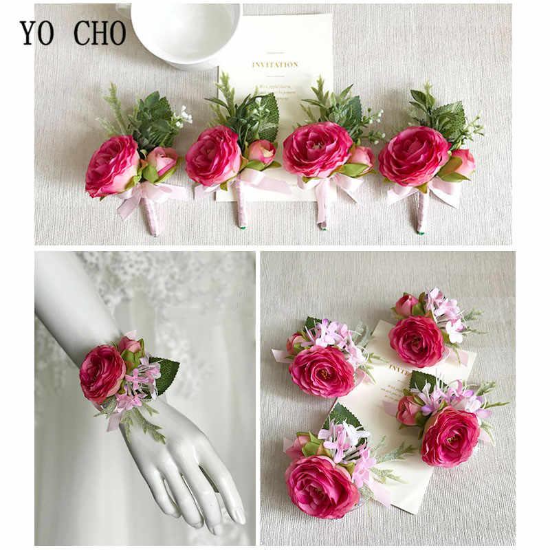 ヨーヨー町手首のコサージュのウェディング手首の花のコサージュ新郎ピンクローズブレスレット花嫁介添人ブートニエール男性結婚ウェディング用品