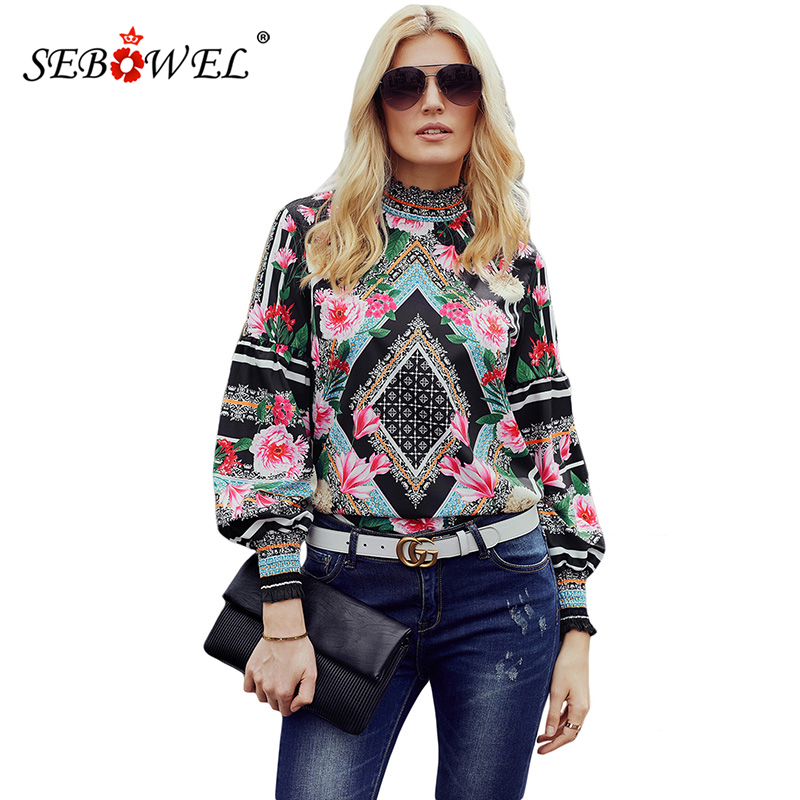 SEBOWEL Black Bohemian Floral Women   Blouse     Shirts   Chic Long Sleeve Womens Tops and   Blouses   Leopard Print Female   Shirts   Top 2019