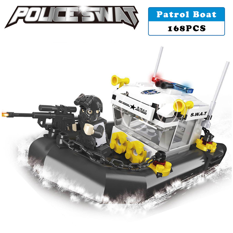 Police station SWAT Boat Military Series 3D Model building blocks compatible with lego city Boy Toy hobbies Gift police pl 12743ls 02m