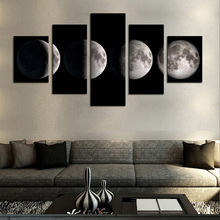 5 Panel Wall Art Moon Picture Night Sea Landscape Painting for Living Room Modern Home Decor Canvas Prints Frame/HX-076