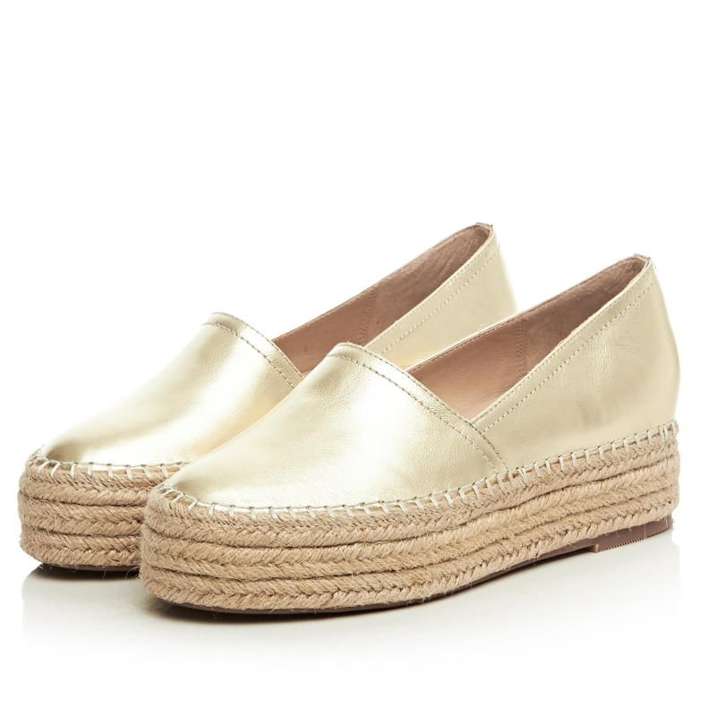 new 2016 spring autumn genuine leather flat shoes woman round toe platform fashion casual slip-on women flats gold