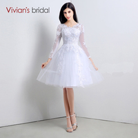 Vivian S Bridal Elegant Ball Gown Full Long Sleeves Lace Wedding Dresses Knee Length With Lace