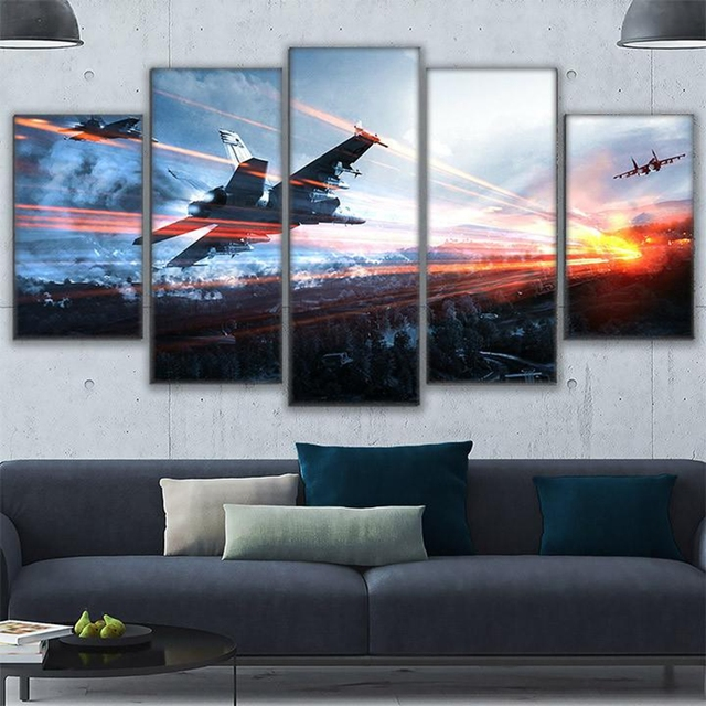 Living Room Framework HD Home Decor Printed Pictures 5 Panel Game Battlefield Modern Canvas Painting Wall Art Modular Poster  2
